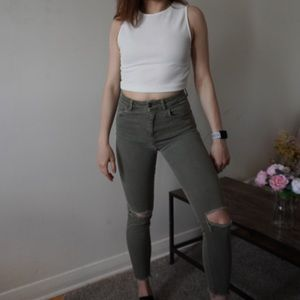 ✨Bundle Sale✨ Zara Khaki Skinny Ripped Jeans